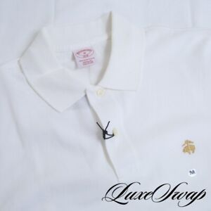 NWT Brooks Brothers White Pique Golden Fleece Logo Performance Polo Shirt M NR