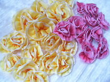 Lot of 25  Ombre Ribbon Flowers~Millinery~Ribbon Work~pink~Yellows~Dolls~Newborn