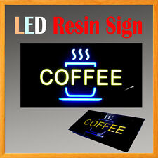 "Lighted Led Resin Window Sign Coffee Snack Sale Non Neon Display 17"" x 9"" Tea"