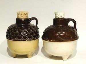 """Vintage (Pair) UHL Pottery Miniature Acorn Wares, Three Footed 4-1/2"""" Jugs"""