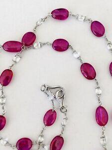 Amazing Platinum Necklace w/ 31.85 CT Fine Rubies & 4.31 CT Diamond Briolettes
