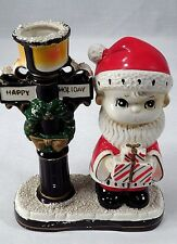 Adorable 1950s MIJ Little Boy Santa Claus w/ Gifts Wreath Lamppost Candle Holder