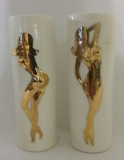 Vintage Mid Century Art Pottery NUDE Pin-Up Girl Drinking Glasses Barware Pair 2