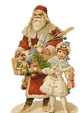 Antique style Die Cut Scrap Hand Glittered Father Christmas Scrapbook projects