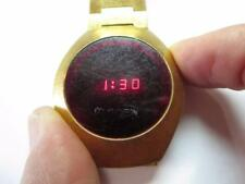 VINTAGE MANS PRE-OWNED WORKING COMPUCHRON RED DIGITAL WATCH YELLOW TONE