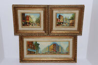 Lot of 3 Oil on Canvas 1930's? French Impressionist Art Parisian Street Scene's