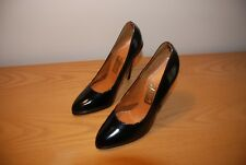 Ladies Vintage 1980s Black Patent High Heel Stiletto Court Shoes Size UK 4.5