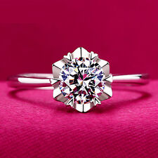 Fashion Women Lady 925 Sterling Silver Crystal Jewelry Ring Gift Adjustable