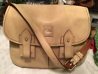 EUC Dooney Bourke Bone Florentine Vachetta Leather Pocket Messenger Saddle Bag