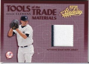 2002 ROGER CLEMENS PLAYOFF ABSOLUTE GAME WORN JERSEY BASEBALL CARD 54/300