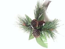 Vintage artificial sprig of green pine needle cone foliage Christmas decoration