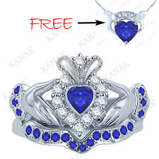 10k White Gold Heart Shape Sapphire & REAL Diamond Bridal Set Claddagh Ring NEW