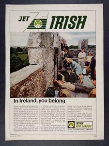 1967 Irish Aer Lingus Airlines blarney stone photo vintage print Ad