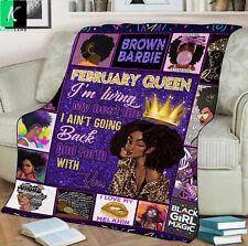 February Queen Fleece Blanket Gift For Black Girl Birthday February