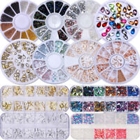 Nail Rhinestone Studs Crafts Rivet Gems Beads 3D Nail Art Decorations Colorful