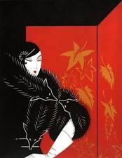 "Chic ORIGINALE VINTAGE Erte Art Deco Print ""PELLICCE"" FASHION BOOK Piastra"