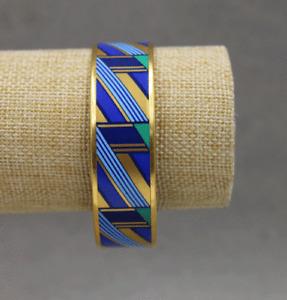 Michaela Frey Team Gold Tone Blue & Green Geometric Enamel Bangle Bracelet