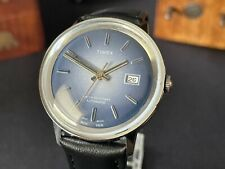 Mens vintage Automatic Timex viscount DATE WATCH GB 1975 M32 serviced blue dial