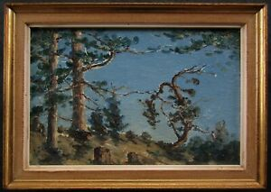 LISTED Beryl Ireland Miniature Impressionist Coast View OLD Oil Painting NO RES.