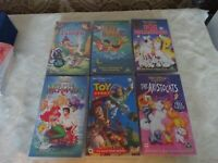 Collection of 6 VHS Video Cassette Tapes Disney Films Little mermaid Bambi Etc