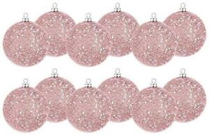 Pink Glitter Ball Ornaments Christmas Holiday Decoration 12 Count