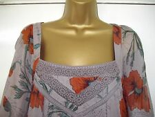 RIVER ISLAND - size 10 - lovely taupe/ grey/ orange Chiffon TOP/ tunic- BNWoT