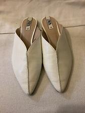 Zara White Pointed Toe Flats Slide Mules Sandals Size 38 EU- 7.5 US NWOB