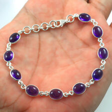 Solid 925 Sterling Silver Natural Amethyst Handmade Bracelet Jewelry IN-1973