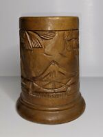 Vintage Hand Carved Wood Tiki Mug Cup Hawaii Beach Island Hawaiian Scene