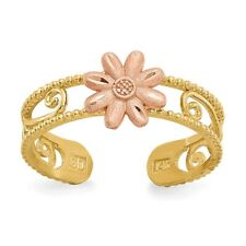 14k Yellow Gold Two-Tone Flower Adjustable Toe Ring With Scroll Design  0.81 gr