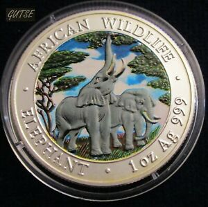 ZAMBIA, 5000 KWACHA 2003, ELEPHANT EATING, SILVER, MATT FINISH, UNCIRCULATED.