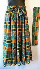 """AfricanKent Print Ankara Maxi Women Skirt 2 Pocket Belt Free Size Waist 46"""" P10"""