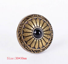 10X Vintage Navajo Flower Brass Leathercraft Conchos Button Screwback Black Bead