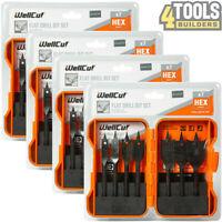 Wellcut Black Edition 7 Pcs Flat Wood Drill Spade Bit Set Hex Shaped Pack of 4