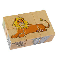 Pictures Cube Wooden Puzzle - Safari • Ecological PILCH Toy 2yrs