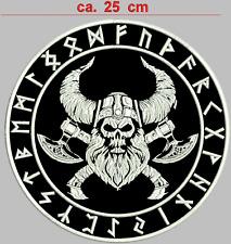 Wikinger kopf Aufnäher Rückenpatch Durchmesser 25 cm Stofffarbe Schwarz