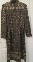 VTG Ladies CHICA Brown/Gold Ethnic Patterned Dress Size 10
