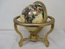 Semi-Precious Stone Table Top Globe on Brass Stand with Compass