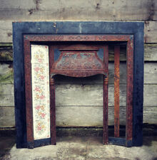 Reclaimed Cast Iron Fire Surround PartTiled Insert Vintage Ornate Fireplace #F44
