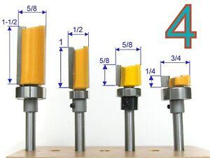 """4pc 1/4"""" Shank Top Bearing Flush Trim Pattern  Router Bit Set S"""