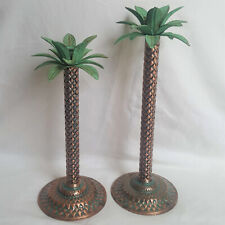 """Pair Brass Metal Palm Tree Candlestick Candleholder Gold Green 14.5"""" and 12.5"""""""