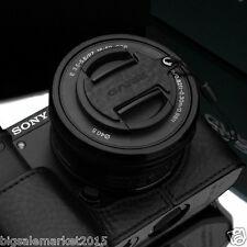 GARIZ Italian Leather Capfix Black for Sony A6000 A5100 NEX-5T 6 5R 16-50mm Lens
