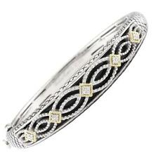 Andrea Candela 18k Gold & Silver Black Onyx Cable Diamond Bangle ACB233/11-ON