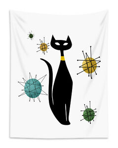 Black Cat Tapestry Abstract Geometric Pattern Wall Hanging Living Room Bedroom
