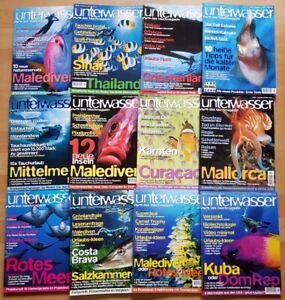 12x Unterwasser 2000 Jahrgang Zeitschrift Sport Meere Tiere Urlaub Tauchen