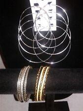 Gold Silver Tone Stacking Bangles Ethnic Bracelets churi Earrings lot