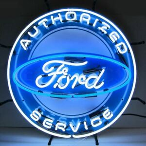 """Neon Sign - Ford Authorized Service 24"""" Great For Dealership, Garage, Man Cave!"""