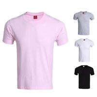 Summer Men Plain Classic Tee Crew Neck Solid Undershirt Cotton T-shirts