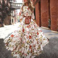 Women's Long Sleeve Boho Maxi Ladies Summer Floral Dresses Casual Fashion Dress