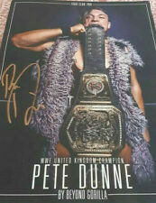 PETE DUNNE HAND SIGNED AUTOGRAPH NXT UK WRESTLING POSTER